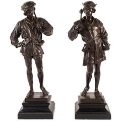 Pair of 19th Century Renaissance Style Huntsmen, Signed Guillot