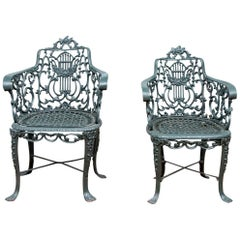 Pair of 19th Century Robert Wood Painted Cast Iron Garden Chairs