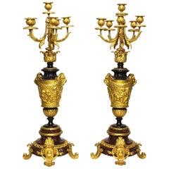 Pair of 19th Century Rococo Ormolu & Griotte Marble Candelabra, Barbedienne