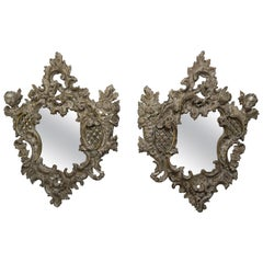 Pair of 19th Century Rococo Style Italian Carved Mirrors with Cherubs