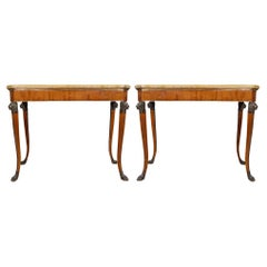 Pair of 19th Century Roman Neo-Classical St. Cherry Wood Consoles