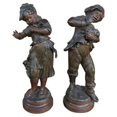 Pair of 19th Century Romantic Spelter Statues by Auguste Moreau