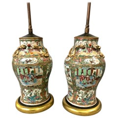 Pair of 19th Century Rose Canton Lamps