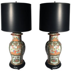 Pair of 19th Century Rose Medallion Chinese Porcelain Ginger Jars Now as Lamps