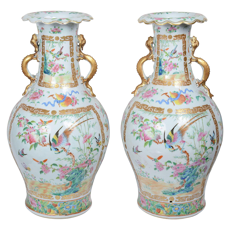 Pair of 19th Century Rose Medallion Vases / Lamps