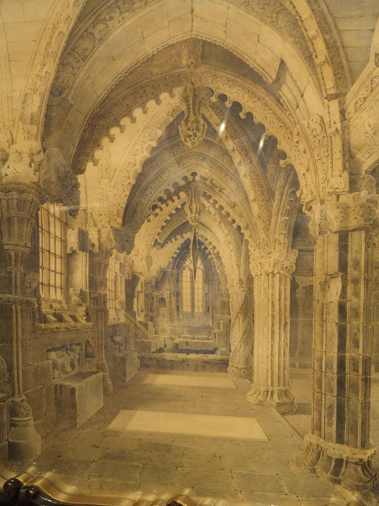 Pair of 19th Century Rosslyn Chapel Watercolors in Carved Fruitwood Frames For Sale 6