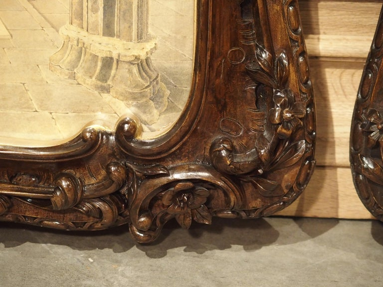 Pair of 19th Century Rosslyn Chapel Watercolors in Carved Fruitwood Frames For Sale 8