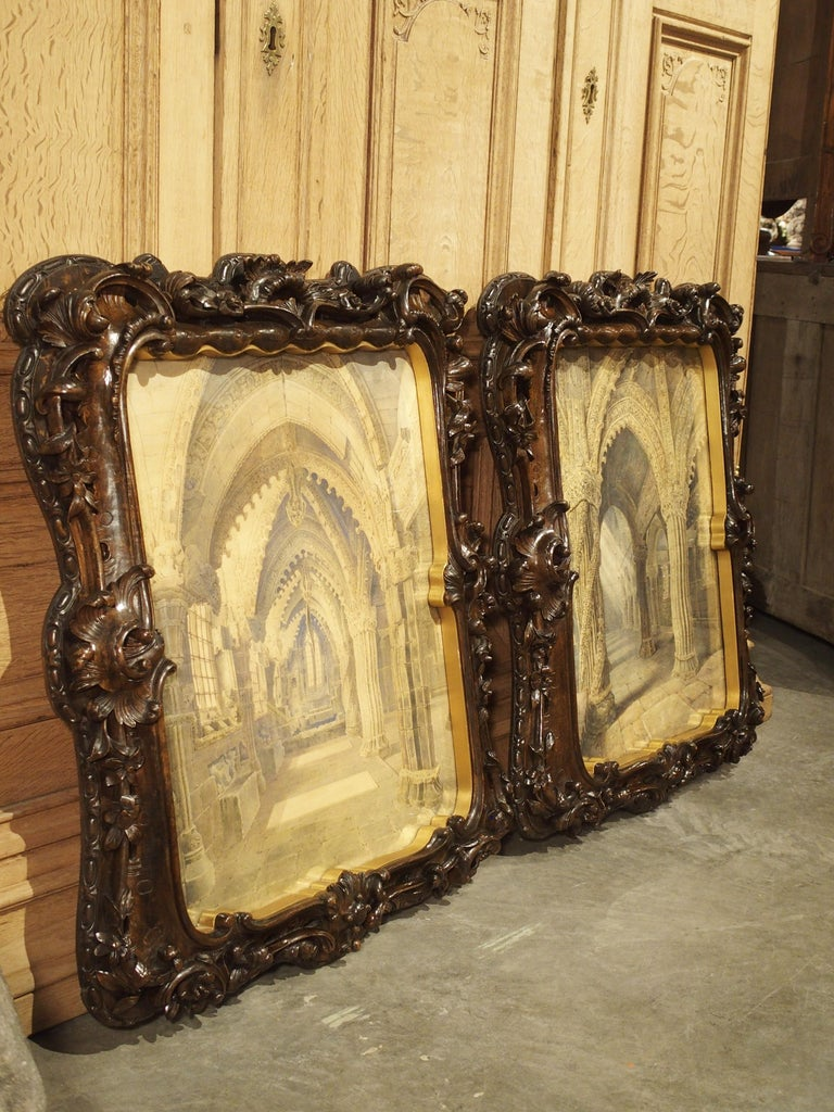 Pair of 19th Century Rosslyn Chapel Watercolors in Carved Fruitwood Frames For Sale 10