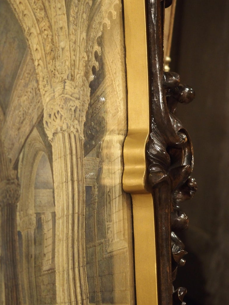 Pair of 19th Century Rosslyn Chapel Watercolors in Carved Fruitwood Frames For Sale 11
