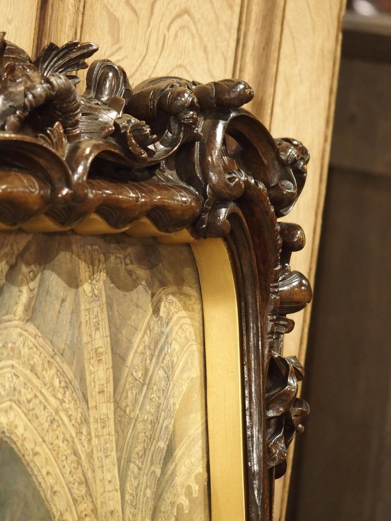 Pair of 19th Century Rosslyn Chapel Watercolors in Carved Fruitwood Frames For Sale 12