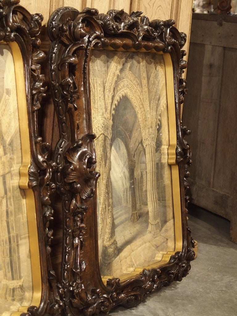 Pair of 19th Century Rosslyn Chapel Watercolors in Carved Fruitwood Frames For Sale 13