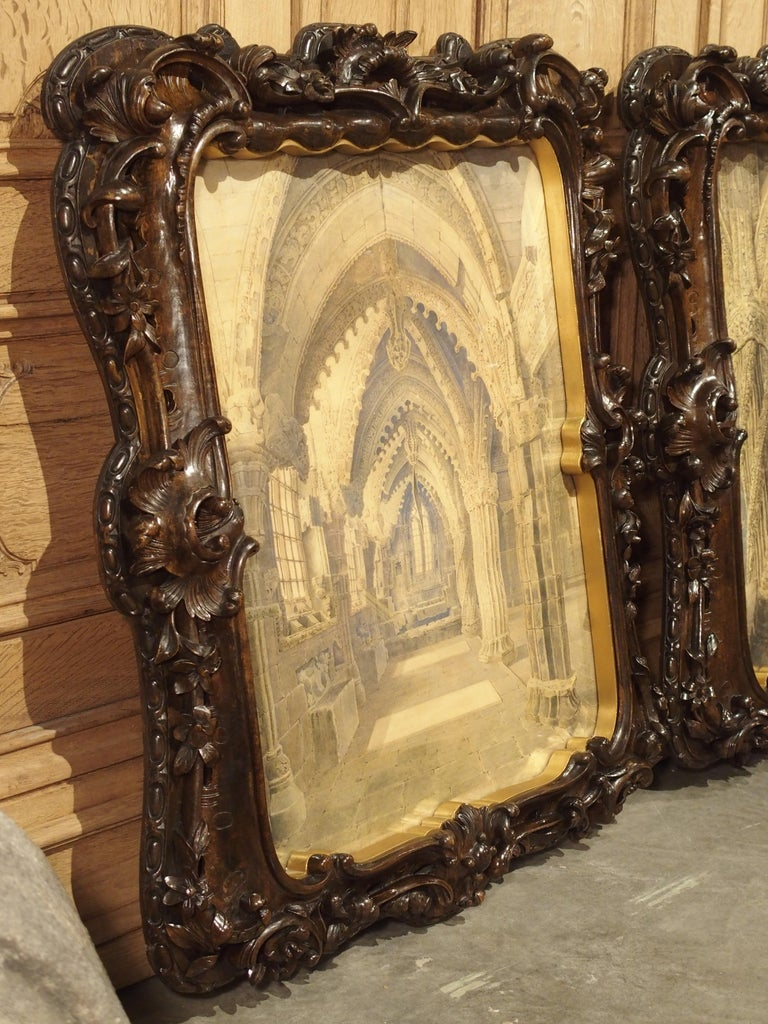 Pair of 19th Century Rosslyn Chapel Watercolors in Carved Fruitwood Frames For Sale 14