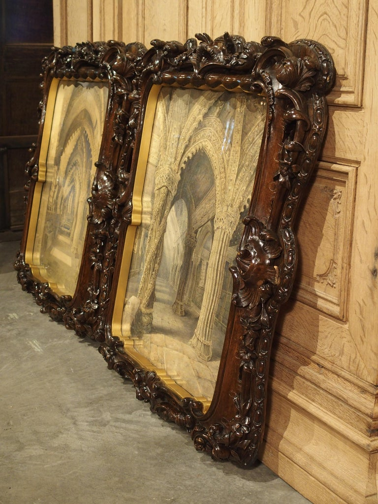 Pair of 19th Century Rosslyn Chapel Watercolors in Carved Fruitwood Frames For Sale 15