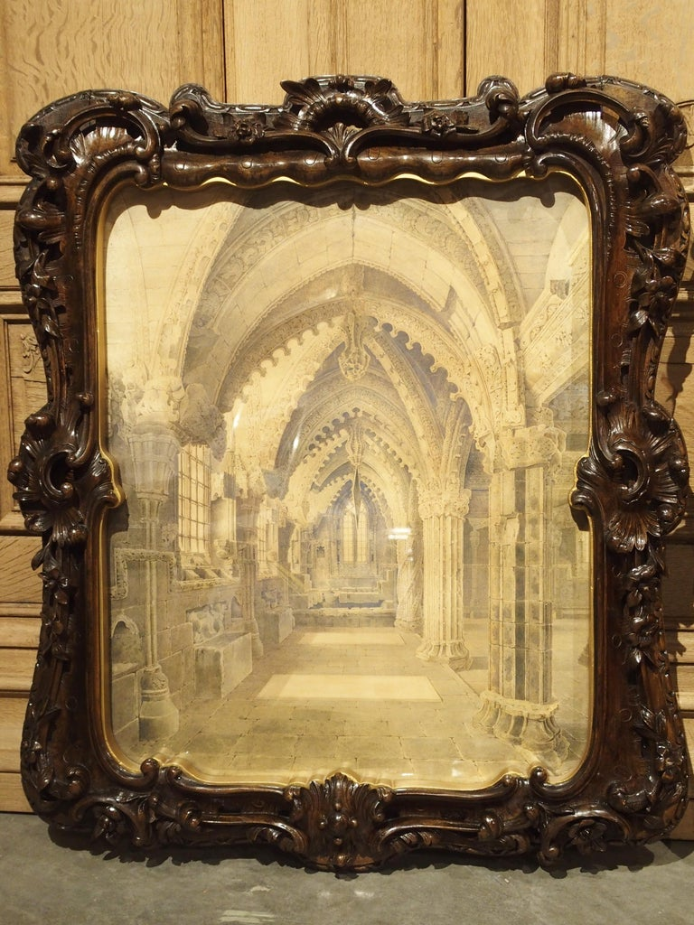 Hand-Carved Pair of 19th Century Rosslyn Chapel Watercolors in Carved Fruitwood Frames For Sale