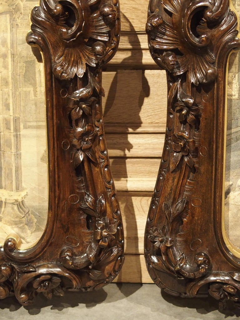 Pair of 19th Century Rosslyn Chapel Watercolors in Carved Fruitwood Frames For Sale 1