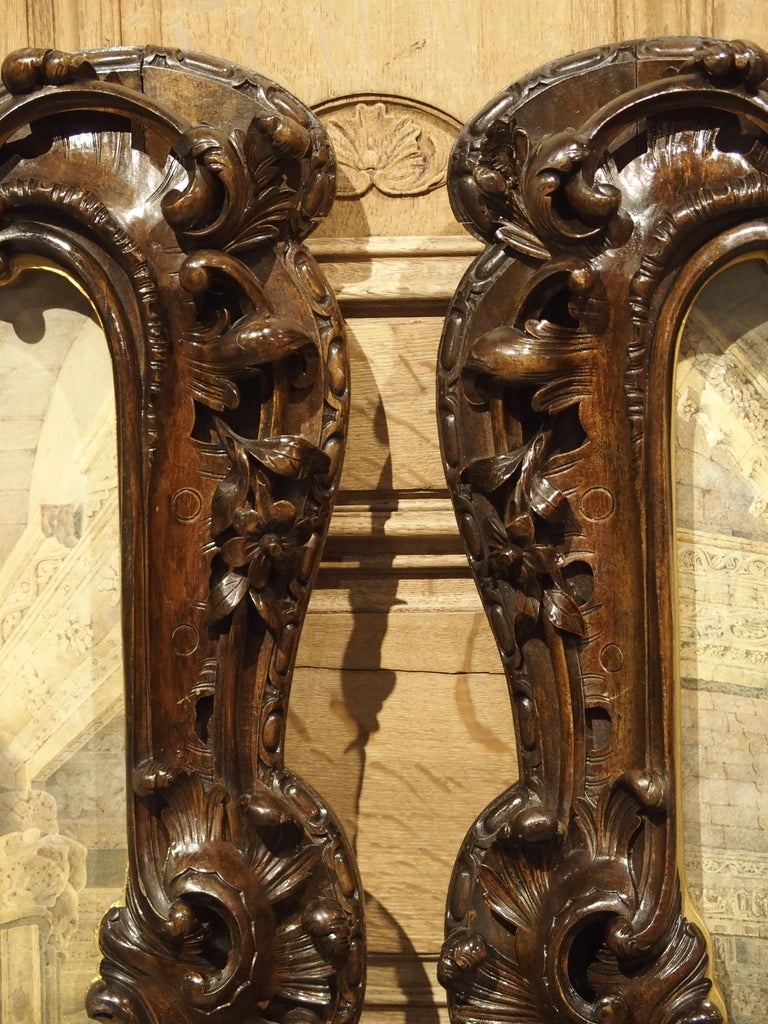 Pair of 19th Century Rosslyn Chapel Watercolors in Carved Fruitwood Frames For Sale 2