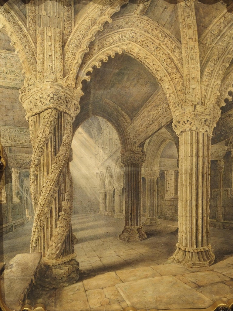 Pair of 19th Century Rosslyn Chapel Watercolors in Carved Fruitwood Frames For Sale 5
