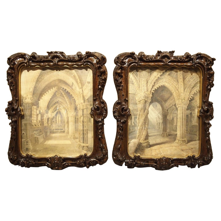 Pair of 19th Century Rosslyn Chapel Watercolors in Carved Fruitwood Frames For Sale