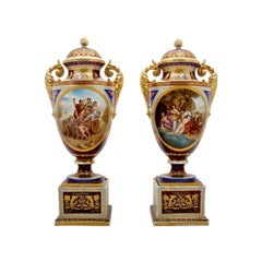 Pair of Royal Vienna Porcelain Vases and Covers