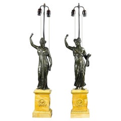 Pair of 19th Century Russian Empire Bronze and Marble Figures as Lamps