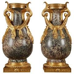 Pair of 19th Century Russian Jasper Vases in Louis XVI Style