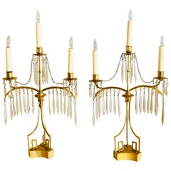 Pair of 19th Century Russian Neoclassical Gilded Bronze Table Lamp