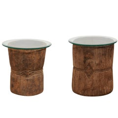 Pair of 19th Century Rustic Wood Mortar and Glass Top Side Tables