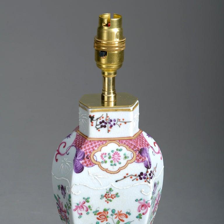 French Pair of 19th Century Samson Famille Rose Porcelain Vase Lamps For Sale