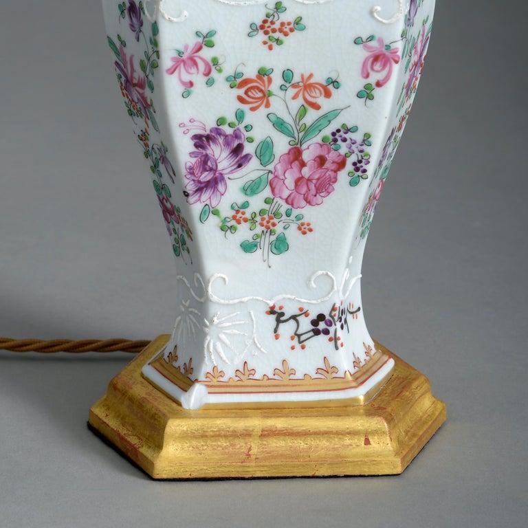 Fired Pair of 19th Century Samson Famille Rose Porcelain Vase Lamps For Sale