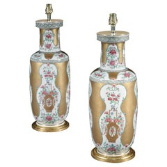 Pair of 19th Century Samson Famille Rose Vases Now Mounted as Lamps