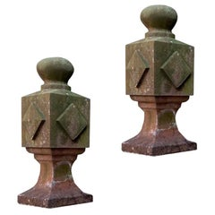 Pair of 19th Century Sandstone Gate Pier Finials