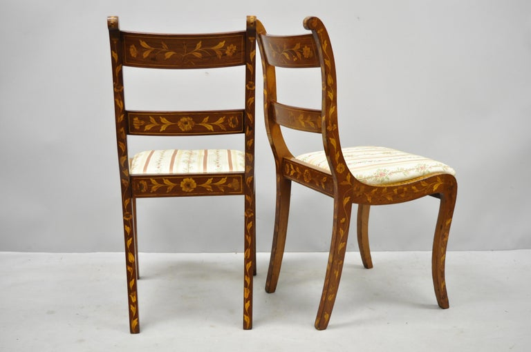 Pair of 19th Century Satinwood Dutch Marquetry Inlay Regency Side Chairs For Sale 6