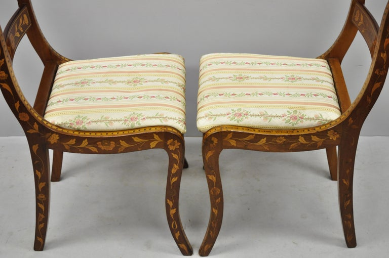 Pair of 19th Century Satinwood Dutch Marquetry Inlay Regency Side Chairs For Sale 7