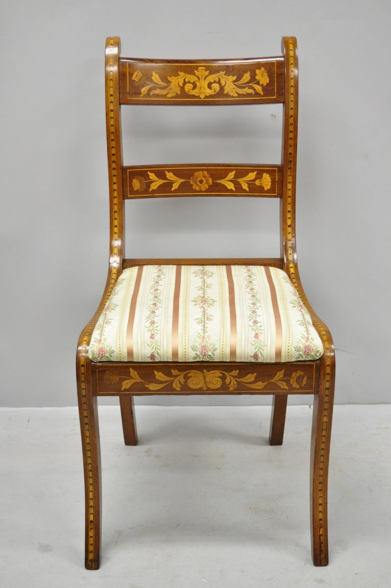 Pair of 19th Century Satinwood Dutch Marquetry Inlay Regency Side Chairs For Sale 8