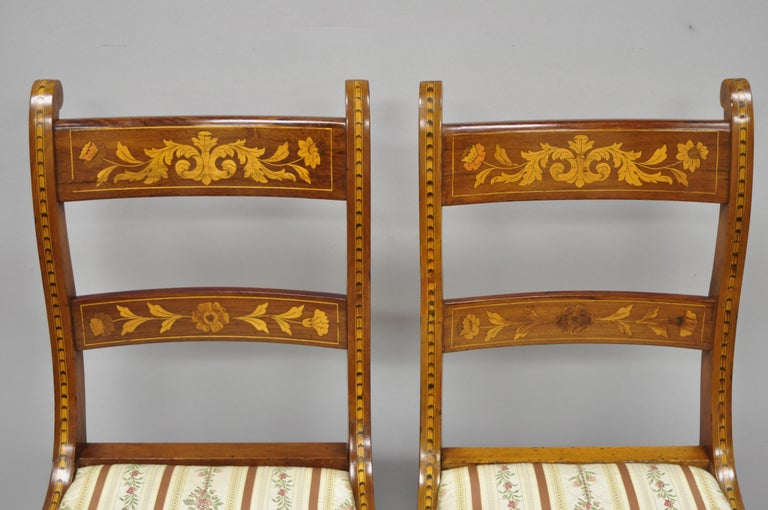 Mahogany Pair of 19th Century Satinwood Dutch Marquetry Inlay Regency Side Chairs For Sale