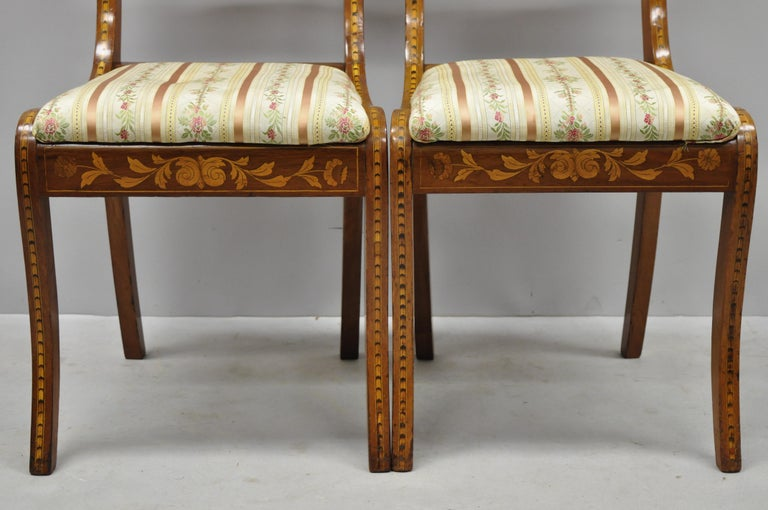 Pair of 19th Century Satinwood Dutch Marquetry Inlay Regency Side Chairs For Sale 1