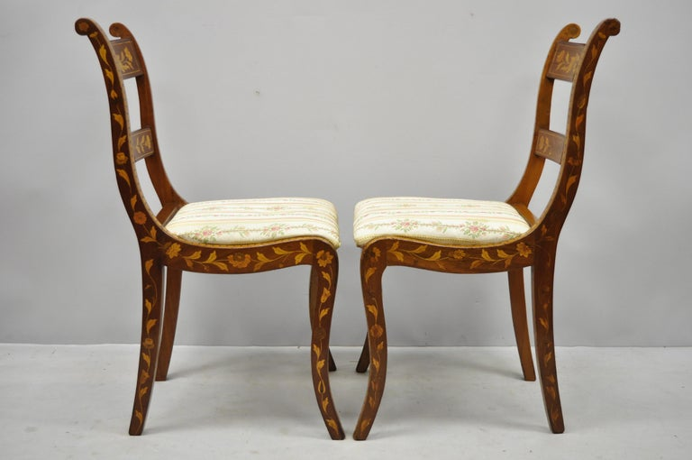 Pair of 19th Century Satinwood Dutch Marquetry Inlay Regency Side Chairs For Sale 2