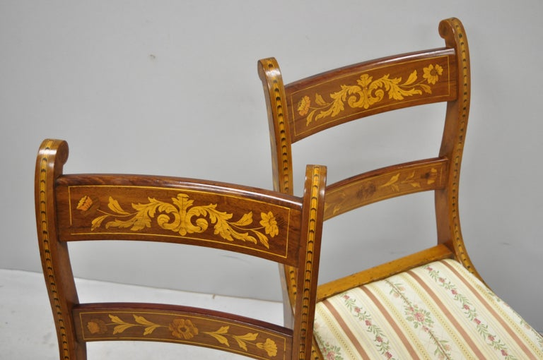 Pair of 19th Century Satinwood Dutch Marquetry Inlay Regency Side Chairs For Sale 3