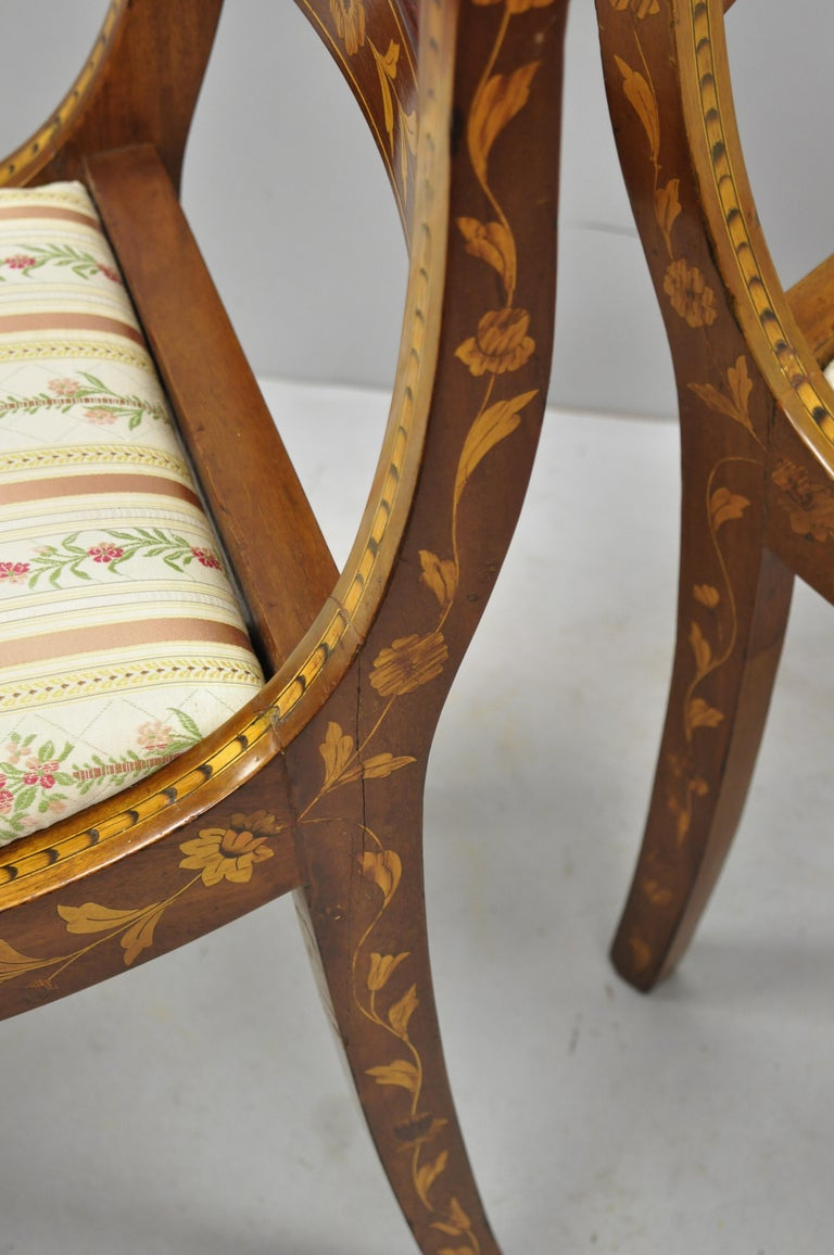 Pair of 19th Century Satinwood Dutch Marquetry Inlay Regency Side Chairs For Sale 4