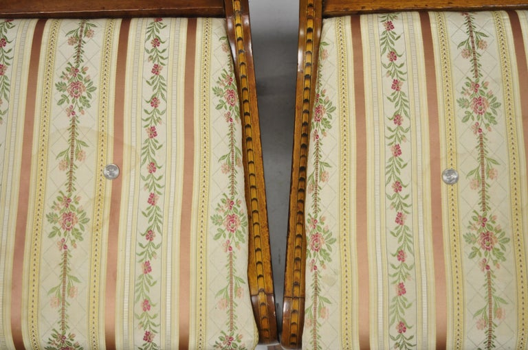 Pair of 19th Century Satinwood Dutch Marquetry Inlay Regency Side Chairs For Sale 5