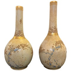 Pair of 19th Century Satsuma Moriage Bottle Form Vases