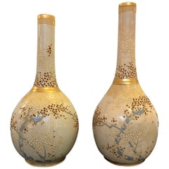 Pair of 19th Century Satsuma Moriage Bottle Form Vases