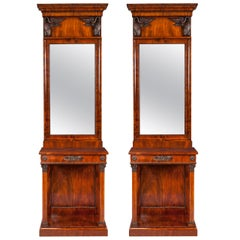 Pair of 19th Century Scandinavian Mahogany Console Tables and Mirrors