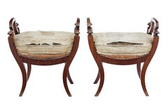 Pair of 19th century Scandinavian mahogany stools