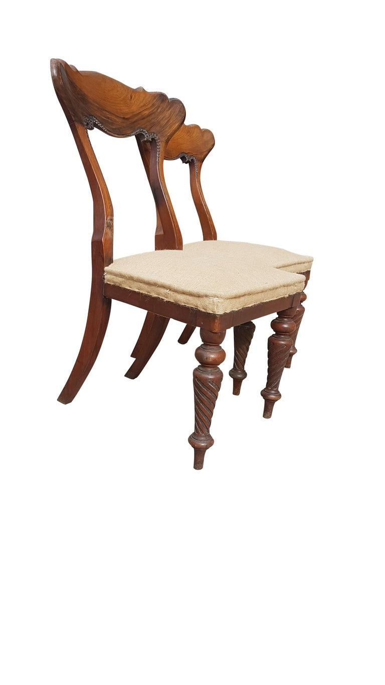 Pair of 19th Century Scottish Walnut Chairs For Sale 6
