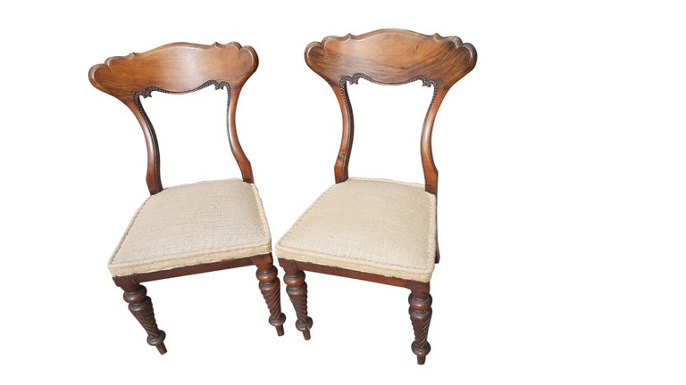 Carved Pair of 19th Century Scottish Walnut Chairs For Sale