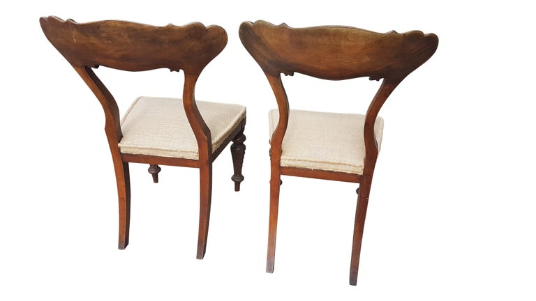 Pair of 19th Century Scottish Walnut Chairs For Sale 1