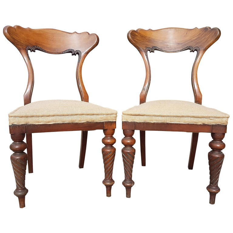 Pair of 19th Century Scottish Walnut Chairs For Sale