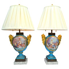 Pair of 19th Century Sèvres and Gilt Bronze Baluster Vase Lamps