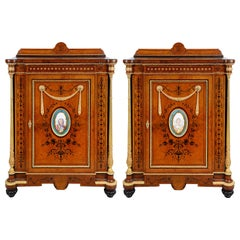 Pair of 19th Century Sevres Porcelain Mounted Side Cabinets